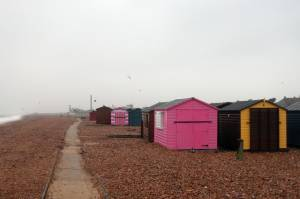 Beach huts on the front at Hayling Island