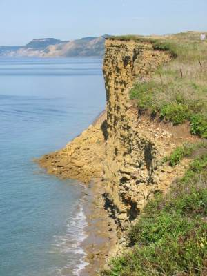 Burton Cliff, showing 2005 landslip