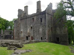 Huntly Castle, view from rear of site