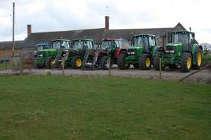 Tractors at Westway Farm, near Nomansland