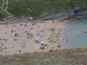Crowded beach at Mwnt