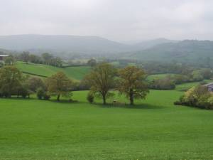 View to the Honddu Valley and the Black Mountains