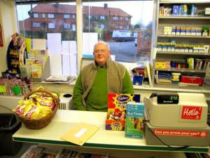 John Fisher in the village shop, Whixley