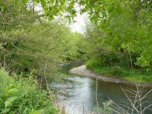 River Rhymney near to Cefn Mably Farm Park