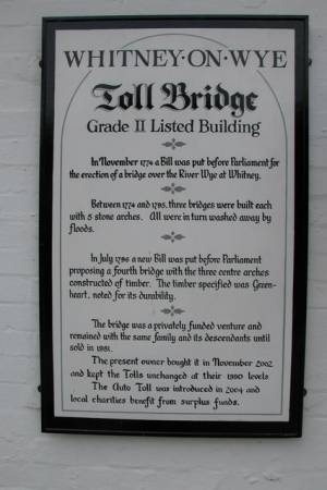 Information on the Whitney-on-Wye toll bridge