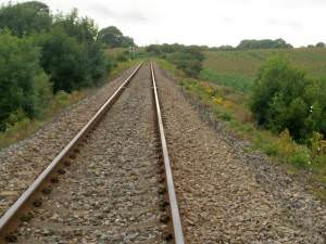 Looking West along railway track