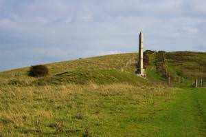 Barrow, obelisk and bridleway, Ballard Down, Purbeck
