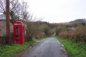 Telephone box and lane near Aylburton Common.