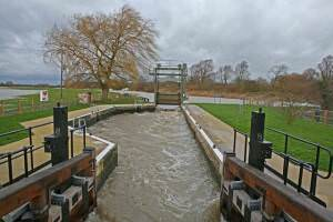 River Ouse in flood Houghton lock opened
