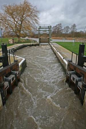 River Ouse in flood Houghton lock opened 2
