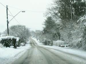 Black Lion Road after freak snowfall