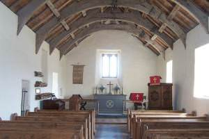 Interior of church at Mwnt.