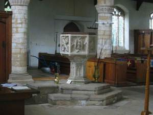 The six sided 15th C font at St Giles