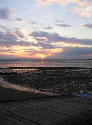 Allhallows beach at sunset