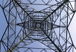Unusual view of an electricity pylon