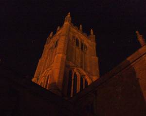 Ludlow church tower by night.