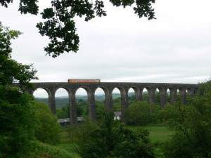 Train on Cynghordy Viaduct, Heart of Wales line