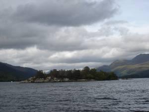Small rocky island Loch Lomond