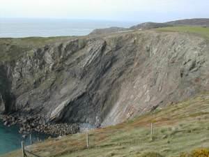 Rock strata at Parwyd