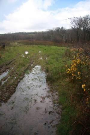 Flooded field near Rhiwbren Quarry