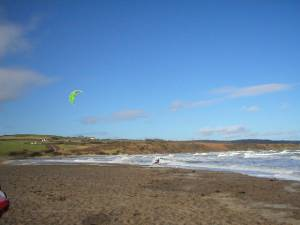 Kite surfer on Lligwy Beach
