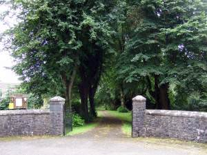 Entrance to Llandyfriog church and old school